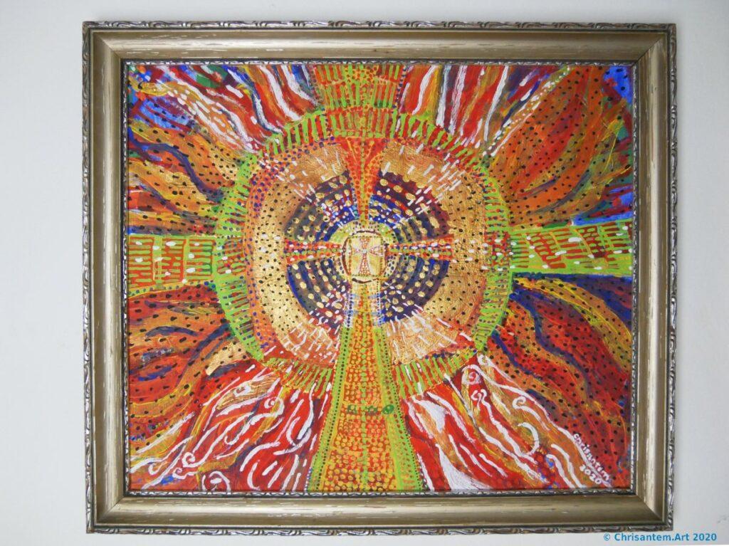 Chrisantem Macháček: Požehnání, Akryl na plátně 59x51cm, 2020